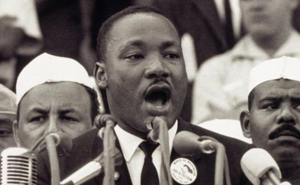 """Martin Luther King Jr. gives his """"I Have a Dream"""" speech to a crowd at the Lincoln Memorial during the March on Washington on Aug. 28, 1963."""