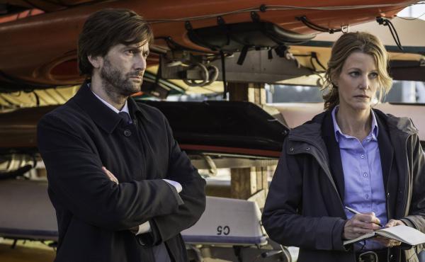 David Tennant, left, and Anna Gunn star in the Fox TV crime drama, Gracepoint.