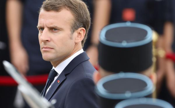 French President Emmanuel Macron reviews French army soldiers during a ceremony commemorating General Charles De Gaulle's June 1940 appeal to French resistance against Nazi Germany, earlier this month, at the Mont Valerien national memorial in Suresnes, o