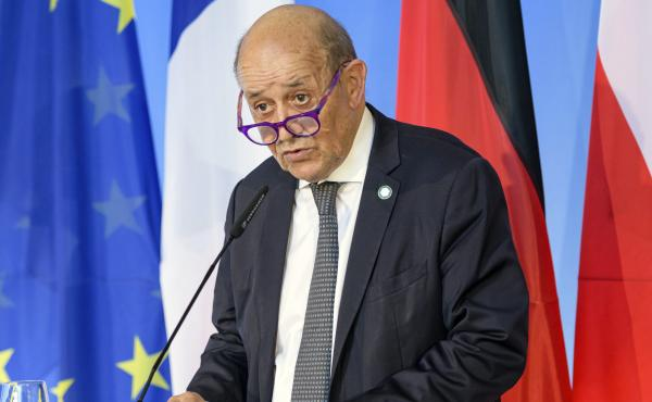 French Foreign Minister Jean-Yves Le Drian is seen on Sept. 10. France said Friday it was recalling its ambassadors to the U.S. and Australia after Australia scrapped a big French conventional submarine purchase in favor of nuclear subs built with U.S. te