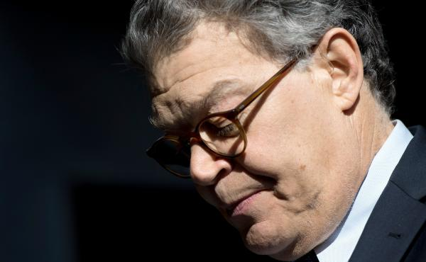 Sen. Al Franken, Democrat of Minnesota, speaks outside his office on Capitol Hill about accusations of sexual harassment and misconduct against him. He apologized but said he would not resign.