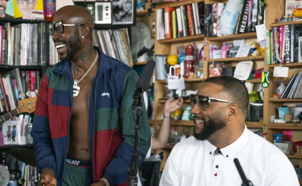 Freddie Gibbs performs during a Tiny Desk concert, on Sept. 26, 2019. (Mhari Shaw/NPR)