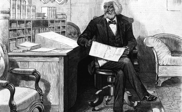 American writer, abolitionist and orator Frederick Douglass edits a journal at his desk, late 1870s. Douglass was acutely conscious of being a literary witness to the inhumane institution of slavery he had escaped as a young man. He made sure to document