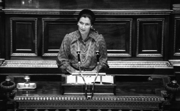 """French politician Simone Veil speaks about abortion while she was health minister in 1974. The legislation that legalized abortion in France is still known as """"Veil's law."""""""
