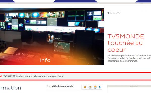 A screen grab of the newly restored TV5Monde website shows its coverage of the hacking attack.