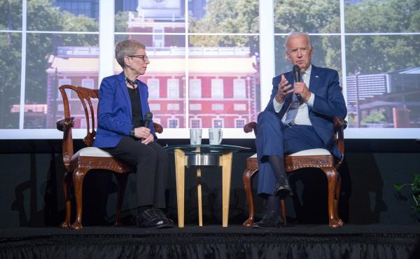Fresh Air host Terry Gross interviewed former Vice President Joe Biden in front of a live audience at the WHYY studios in Philadelphia on Tuesday.