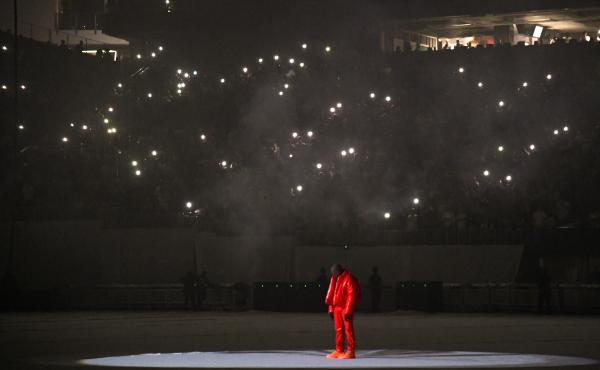 Kanye West is seen at a Donda listening event at Mercedes-Benz Stadium on July 22, 2021 in Atlanta, Georgia.