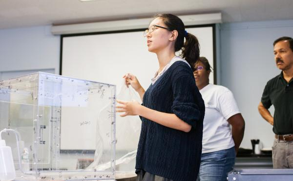 Students taking part in Columbia University's Ebola design challenge demonstrated for judges how to use a special chamber for decontaminating small items.