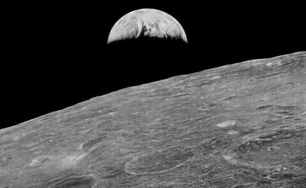 This image of the Earth rising over the moon was the first one recovered by the Lunar Orbiter Image Recovery Project.