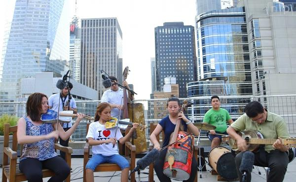 On the Recycled Orchestra's recent visit to New York, we brought members of the ensemble to play on a midtown Manhattan rooftop.