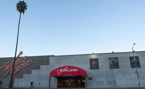 View of Guitar Center in Hollywood, Calif.