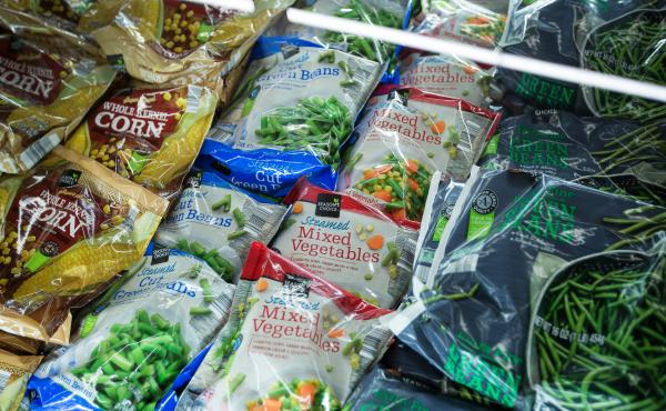 Frozen vegetables are displayed for sale at an Aldi supermarket in Hackensack, N.J.