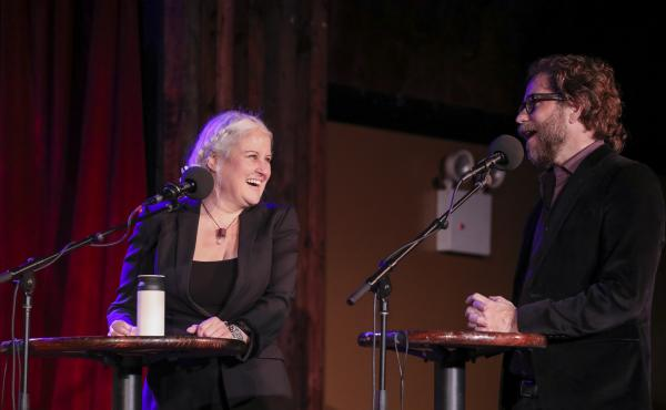 Paula Cole and Jonathan Coulton play a game on Ask Me Another at the Bell House in Brooklyn, New York.