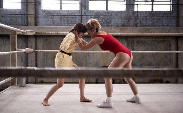 Alison Brie (left) and Betty Gilpin star in GLOW, a new Netflix show about a women's wrestling league in the 1980s.