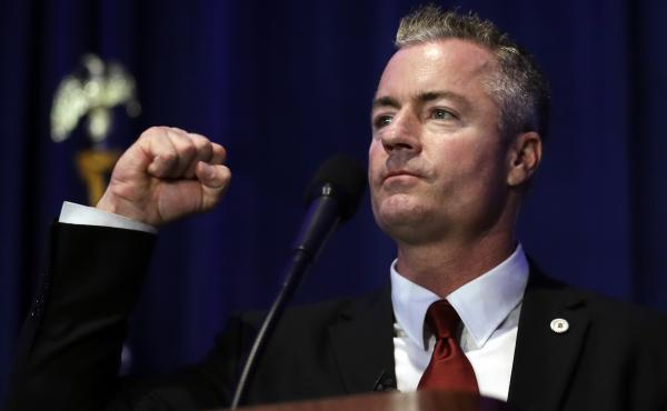 California gubernatorial candidate Travis Allen speaks during the state Republican Party convention in San Diego earlier this month.