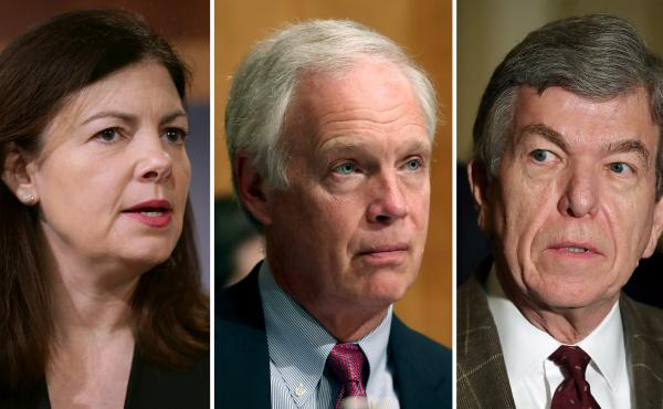 Sen. Kelly Ayotte of New Hampshire (from left), Sen. Ron Johnson of Wisconsin and Sen. Roy Blunt of Missouri.