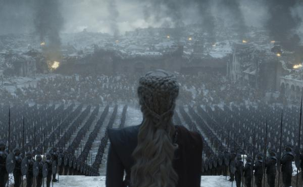 Having well and truly landed, Queen Daenerys (Emilia Clarke) surveys the ruins of King's Landing on the final episode of Game of Thrones.