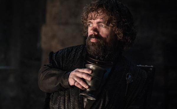 Tyrion (Peter Dinklage) in his cups (well, goblets, technically) on Game of Thrones.