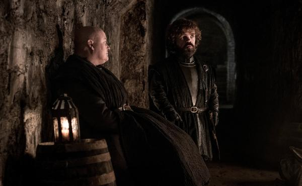 Varys (Conleth Hill) and Tyrion (Peter Dinklage) commiserate over how very, very safe they are, down in the Winterfell crypts, because they are dumb.