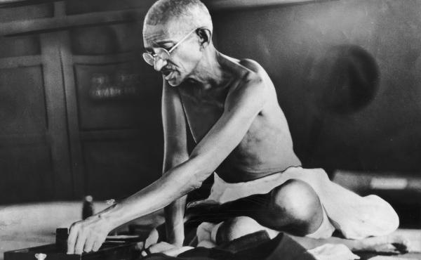 Indian spiritual and political leader Mohandas Gandhi circa 1935.