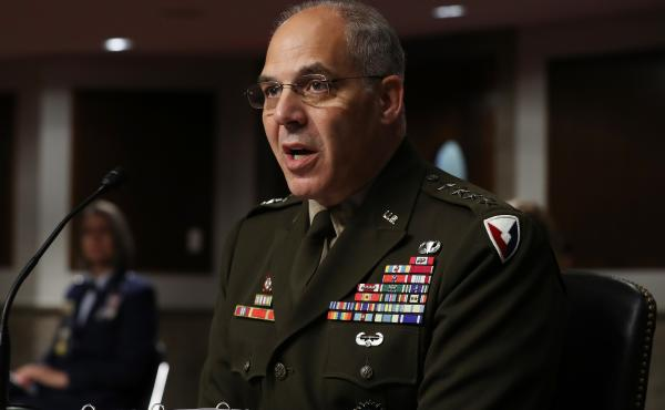 Army Gen. Gustave Perna testifies before the Senate Armed Services Committee on Thursday on his nomination to oversee the COVID-19 vaccine project.