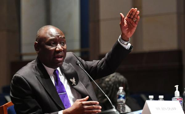 "Civil rights attorney Benjamin Crump, shown testifying at a June 10 House Judiciary Committee hearing prompted by the death of George Floyd, announced he has filed a civil lawsuit against ""the City of Minneapolis and police officers"" on behalf of Floyd's"