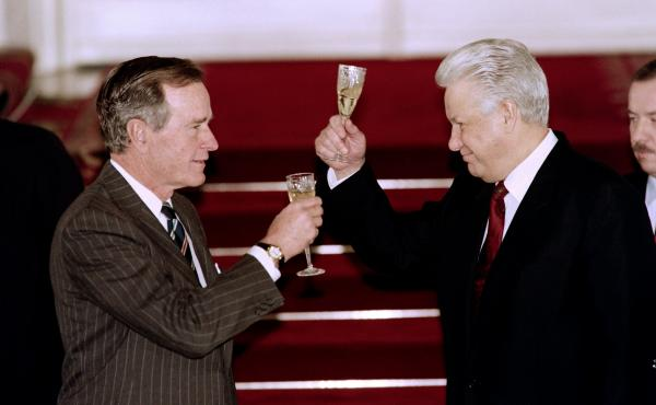 President George H.W. Bush and Russian President Boris Yeltsin toast to each other after signing an arms control treaty in January 1993 in Moscow. Bush skillfully cultivated relationships with both Yeltsin and his Soviet predecessor, Mikhail Gorbachev.