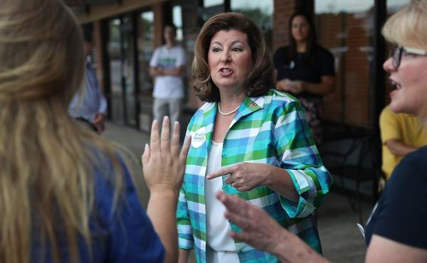 Republican candidate Karen Handel greets people during a campaign stop as she runs for Georgia's 6th Congressional District on June 19, 2017 in Alpharetta, Georgia.