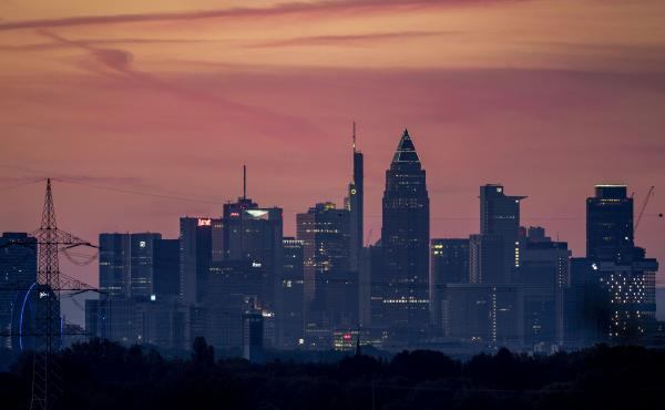 A view of the banking district in Frankfurt, Germany, on Thursday. Government statistics show the German economy contracted by 10.1% in the second quarter of this year.
