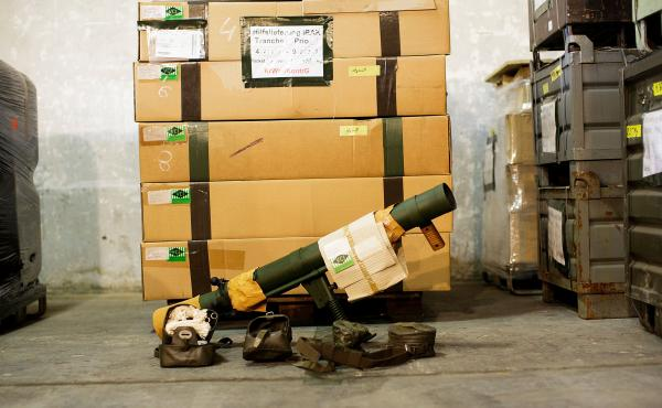 Germany is the world's third-largest exporter of arms, like this bazooka destined for northern Iraq, being packed up at a German military base on Thursday. The country's economy minister has held up hundreds of weapons exports since he took office in Dece