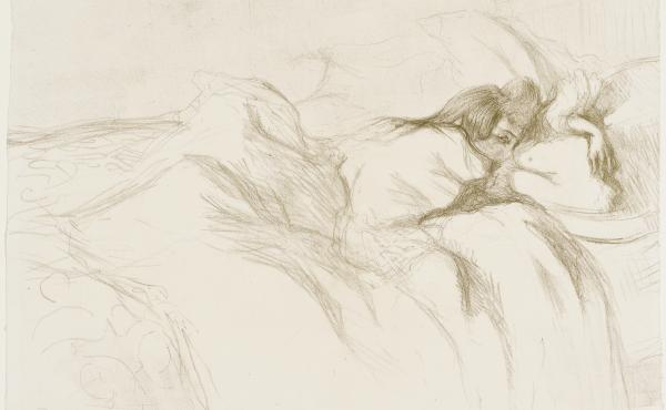 Henri de Toulouse-Lautrec's 1896 lithograph Woman Reclining — Waking Up from the portfolio Elles