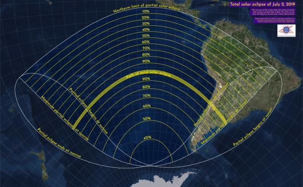 This graphic shows the path of the solar eclipse on July 2 and how much you can see from different places. The yellow band represents the path of totality, or the areas in which a total eclipse will be visible. Other areas will be able to see a partial so
