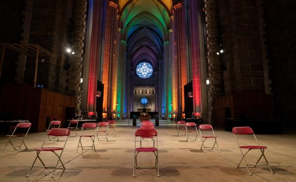 The waiting area of a pop-up vaccination site at St. John The Divine Cathedral sits empty as the rush for vaccinations winds down on June 27, 2021 in New York City. The demand for vaccinations has declined just as the Delta Plus variant of the coronavirus