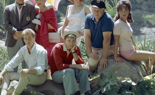The cast of Gilligan's Island (clockwise from top left): Jim Backus, Natalie Schafer, Tina Louise, Alan Hale Jr., Dawn Wells, Bob Denver, Russell Johnson