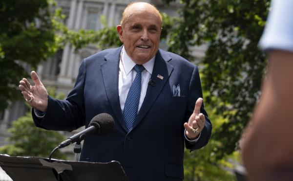 Rudy Giuliani, a personal attorney for President Trump, talked with reporters outside the White House on July 1.