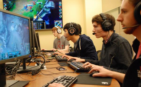 Members of the Ohio State team practice for an upcoming Big Ten League tournament for League of Legends.