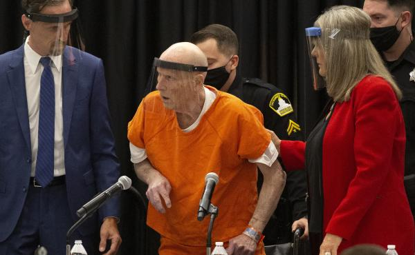 Accused Golden State Killer Joseph James DeAngelo (center) pleaded guilty on Monday in Sacramento, Calif., to 13 murders and other related charges.