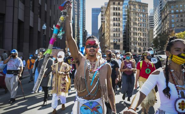 Protesters marched in an Indigenous Peoples Day rally in Boston on Oct. 10, 2020, as part of a demonstration to change Columbus Day to Indigenous Peoples' Day. Boston made that change last week.