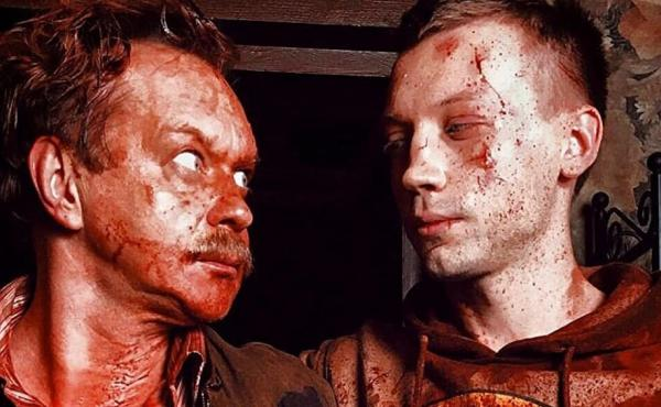 Yevgenich (Michael Gor) and Matvey (Aleksandr Kuznetsov) look sanguine in Why Don't You Just Die!
