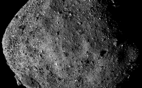 This image of Bennu, taken from a range of 15 miles, shows its unexpectedly rough and rocky surface.