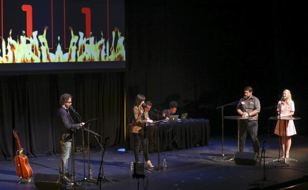 Contestants compete in the final round Ask Me Another at TPAC's Polk Theater in Nashville, Tennessee.