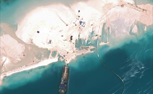 A March 16 satellite image from the CSIS Asia Maritime Transparency Initiative shows one of China's artificial islands in the South China Sea.