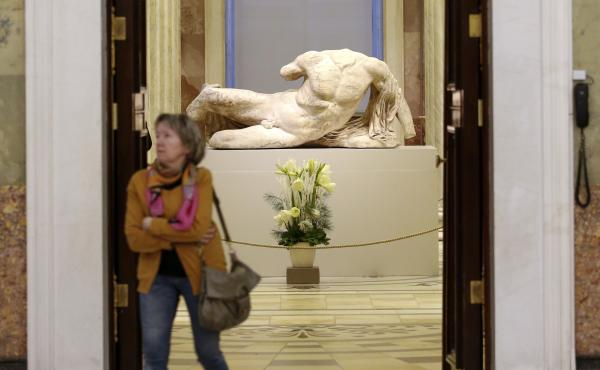 The headless, reclining sculpture of the river god Ilissos is on display at the State Hermitage Museum as part of its 250th anniversary celebration in St. Petersburg in December. The sculpture, taken from the Parthenon in Athens 200 years ago, was on loan