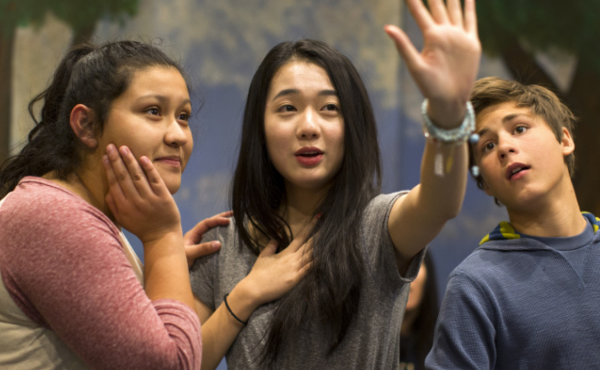 Sophomore Morgan Wang (center) takes part in a rehearsal of The Miser at Arroyo Pacific Academy in Arcadia, Calif., last November. Wang plays Marianne in the play.