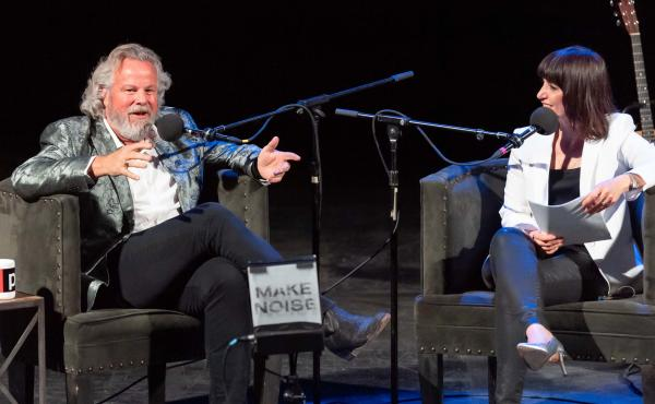 Robert Earl Keen plays game with Ophira Eisenberg on Ask Me Another at the Aztec Theatre in San Antonio, Texas.