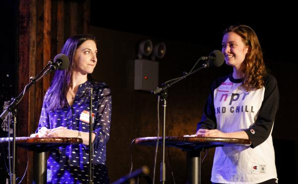 Contestants Julienne Bilker and Lauren Girouard appear on Ask Me Another at the Bell House in Brooklyn, New York.