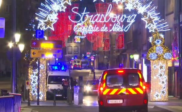 French emergency services arrive at a Christmas market in Strasbourg, France, after a gunman killed at least three people and wounded nearly a dozen more.