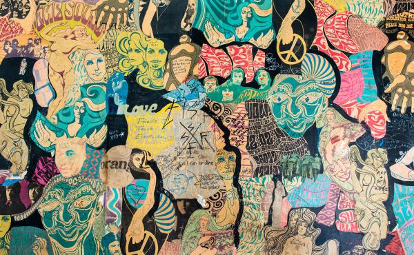 A large collage decorates a wall of one exam room at the Haight Ashbury Free Medical Clinic in San Francisco, Calif. Dr. David Smith, founder of the clinic, says patients and staff call the mural the Psychedelic Wall of Fame.