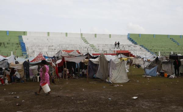 Hundreds of people are living in a makeshift tent city inside the main soccer stadium in Les Cayes, Haiti, following the  7.2 magnitude earthquake.