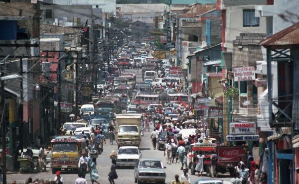 A view down a busy street in Port au Prince, Haiti. Kidnappings in the country have already been worse in 2021 than years before.